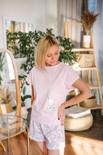 Женская пижама ЖП 022 (T) (Розовый_зайцы на полосе) - Злата