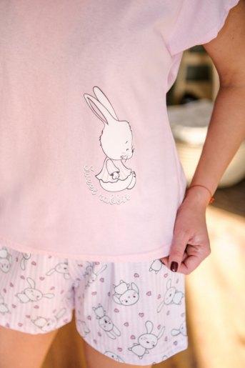 Женская пижама ЖП 022 (T) (Розовый_зайцы на полосе) (Фото 2)