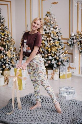 Женская пижама ЖП 024 (T) (Шоколадный_принт кокосы) - Злата