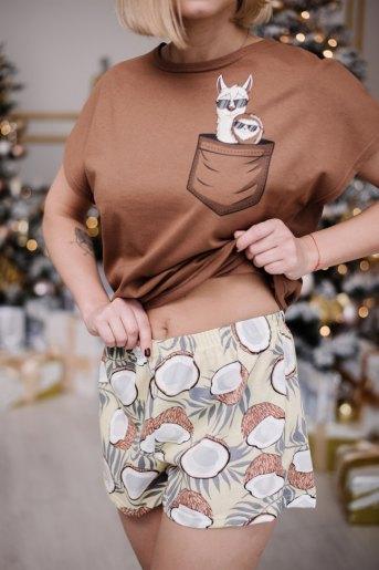 Женская пижама ЖП 022 (T) (Коричневый_принт кокосы) (Фото 2)