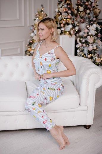 Женская пижама ЖП 051 (T) (Полоса с принтом) - Злата