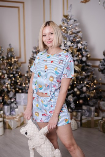 Женская пижама ЖП 050 (T) (Полоса с принтом) - Злата