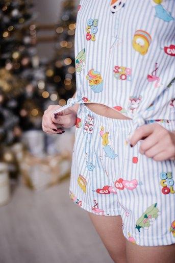 Женская пижама ЖП 050 (T) (Полоса с принтом) (Фото 2)