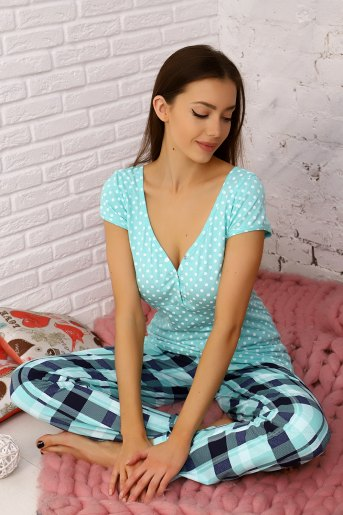 Пижама 15076 (N) (Ментол) - Злата