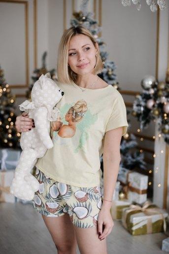 Женская пижама ЖП 022 (T) (Светло-желтый_принт кокосы) - Злата