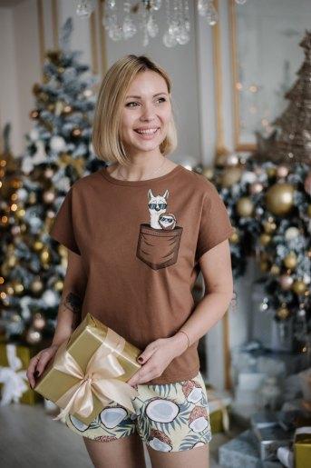 Женская пижама ЖП 022 (T) (Коричневый_принт кокосы) - Злата