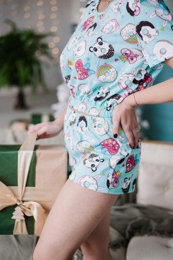 Женская пижама ЖП 049 (T) (Мятный_принт пончики) (Фото 2)