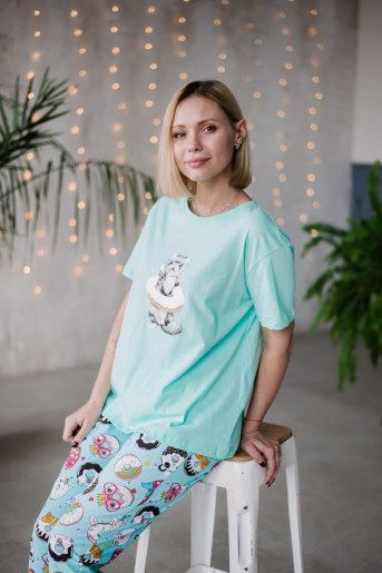 Женская пижама ЖП 039 (T) (Мятный_принт пончики) - Злата