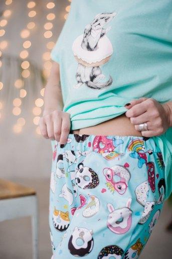 Женская пижама ЖП 039 (T) (Мятный_принт пончики) (Фото 2)