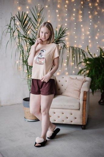 Женская пижама ЖП 022 (T) (Принт нутелла) (Фото 2)