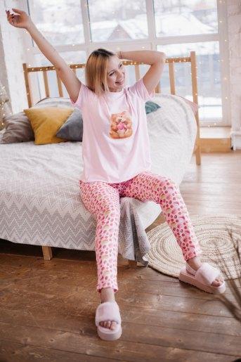 Женская пижама ЖП 024 (T) (Розовый_принт хомяк с вишней) - Злата
