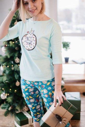 Женская пижама ЖП 052 (T) (Мятный_принт единорог в пончике) - Злата