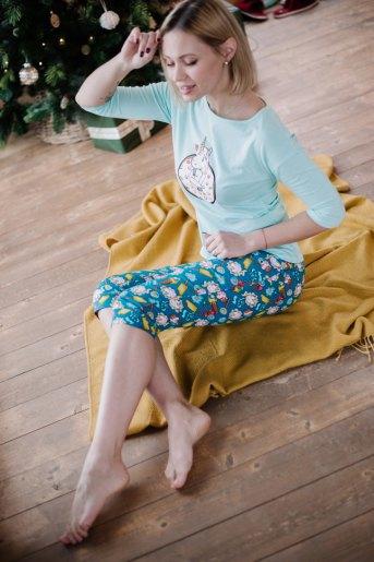 Женская пижама ЖП 052 (T) (Мятный_принт единорог в пончике) (Фото 2)
