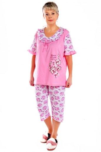 """Пижама """"Дамский каприз -2"""" бриджи розовый - Злата"""