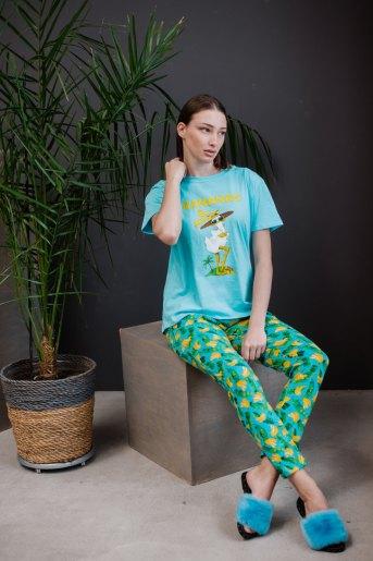 Женская пижама ЖП 024 (T) (Голубой_принт бананы) - Злата
