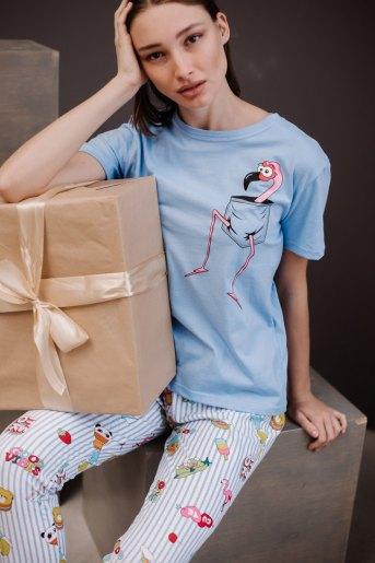 Женская пижама ЖП 024 (T) (Голубой_полоса с принтом) - Злата