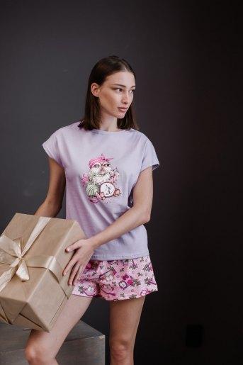 Женская пижама ЖП 022 (T) (Сиреневый_принт совы) - Злата