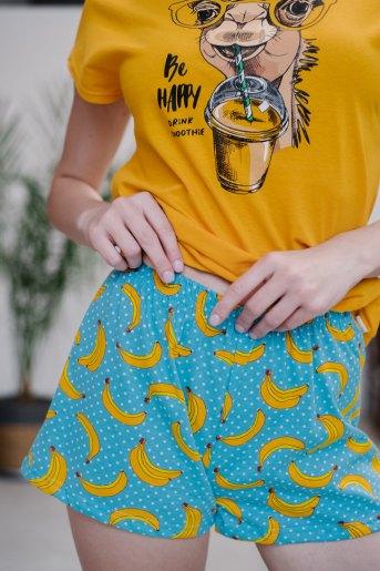Женская пижама ЖП 022 (T) (Желтый_бананы с горохом) (Фото 2)