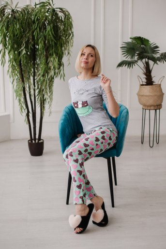 Женская пижама ЖП 057 (T) (Серый_сердечки на мятном) (Фото 2)