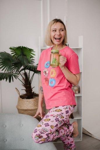 Женская пижама ЖП 024 (T) (Принт шесть пончиков) - Злата