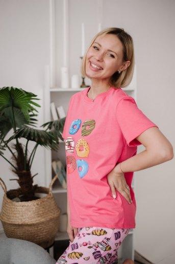 Женская пижама ЖП 024 (T) (Принт шесть пончиков) (Фото 2)