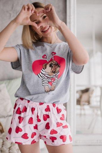 Женская пижама ЖП 022 (T) (Серый_леденцы-сердечки) - Злата