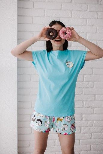 Женская пижама ЖП 022 (T) (Голубой_принт пончики) - Злата