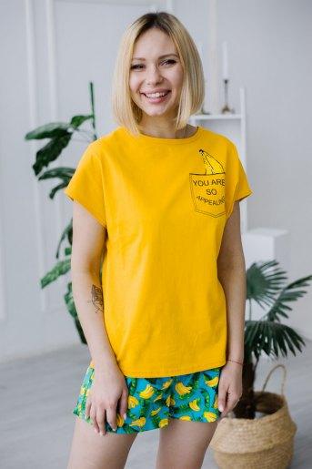 Женская пижама ЖП 022 (T) (Принт бананы в кармане) - Злата