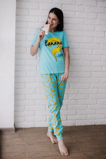 Женская пижама ЖП 058 (T) (Голубой_бананы с горохом) - Злата