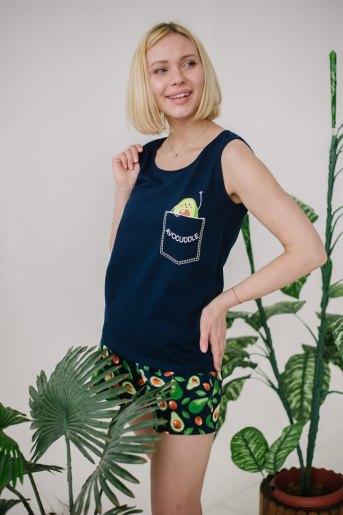 Женская пижама ЖП 059 (T) (Принт авокадо на т.-синем) - Злата