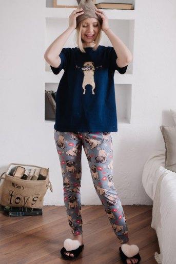 Женская пижама ЖП 039 (T) (Т.-синий _ принт мопсы) - Злата