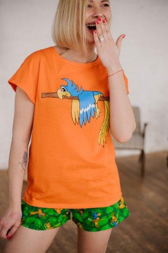 Женская пижама ЖП 022 (T) (Оранжевый_принт попугаи) - Злата
