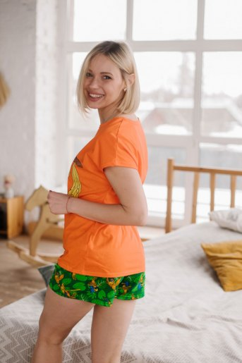 Женская пижама ЖП 022 (T) (Оранжевый_принт попугаи) (Фото 2)