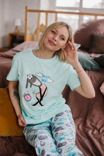 Женская пижама ЖП 039 (T) (Мятный_принт барашки) - Злата
