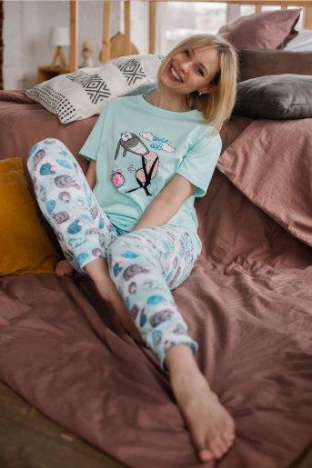 Женская пижама ЖП 039 (T) (Мятный_принт барашки) (Фото 2)
