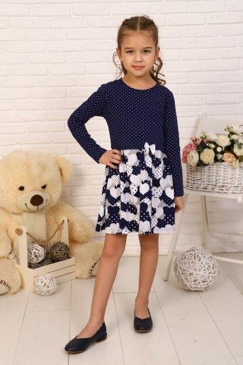 Платье Эвелина детское дл. рукав (N) (Темно-синий) - Злата