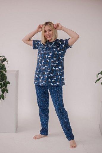 Женская пижама ЖП 063 (T) (Кошки на звездном небе) - Злата