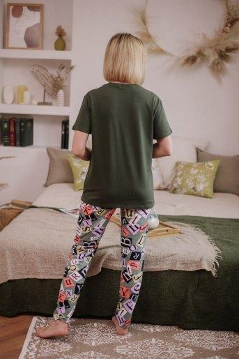 Женская пижама ЖП 024 (T) (Хаки_принт буквы) (Фото 2)