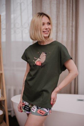 Женская пижама ЖП 022 (T) (Хаки_принт буквы) - Злата
