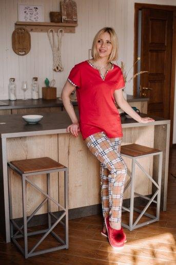Женская пижама ЖП 062/1 (T) (Красный_клетка на бежевом) - Злата
