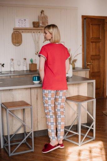 Женская пижама ЖП 062/1 (T) (Красный_клетка на бежевом) (Фото 2)