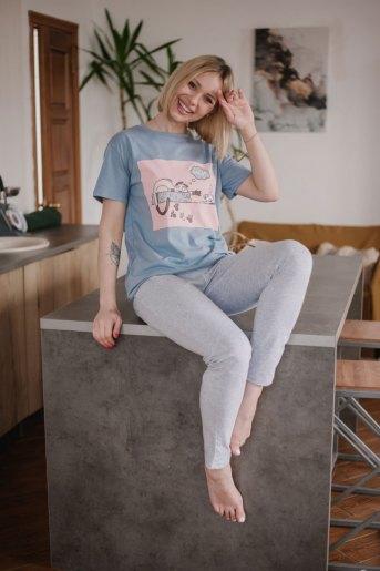 Женская пижама ЖП 024 (T) (Серый_принт на розовом) - Злата