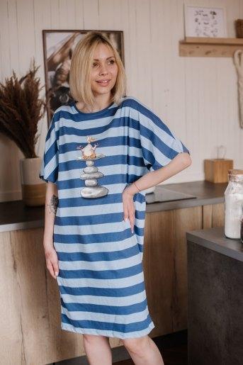 Платье П 791 (T) (Полоса сине-голубая) - Злата