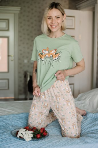 Женская пижама ЖП 024 (T) (Оливковый_лиса) - Злата