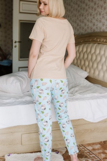 Женская пижама ЖП 067 (T) (Бежевый _ совята на голубом) (Фото 2)