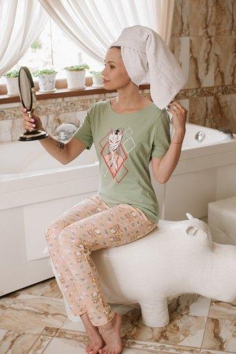Женская пижама ЖП 067 (T) (Оливковый _ лиса) - Злата