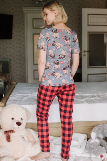 Женская пижама ЖП 067/1 (T) (Мопсы _ красная клетка) (Фото 2)