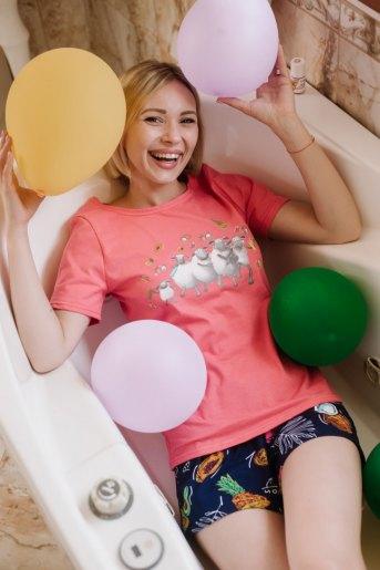 Женская пижама ЖП 064/3 (T) (Коралл _ тропические фрукты) - Злата