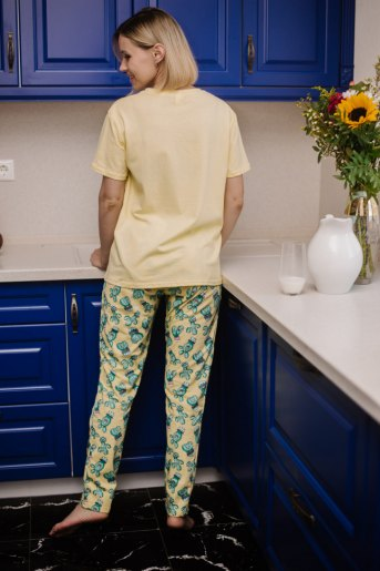 Женская пижама ЖП 024 (T) (Светло-желтый _ кактусы) (Фото 2)