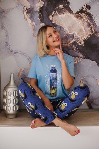 Женская пижама ЖП 024 (T) (Голубой_лицо) - Злата